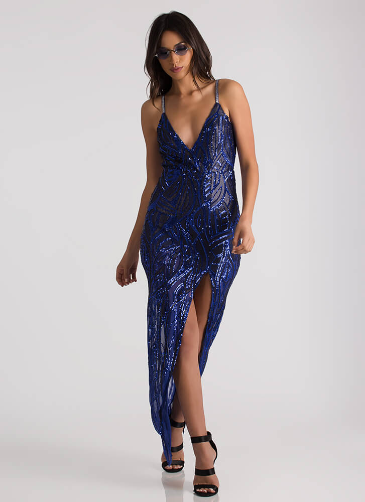 Special Night Slit Sequined Mesh Gown ROYAL