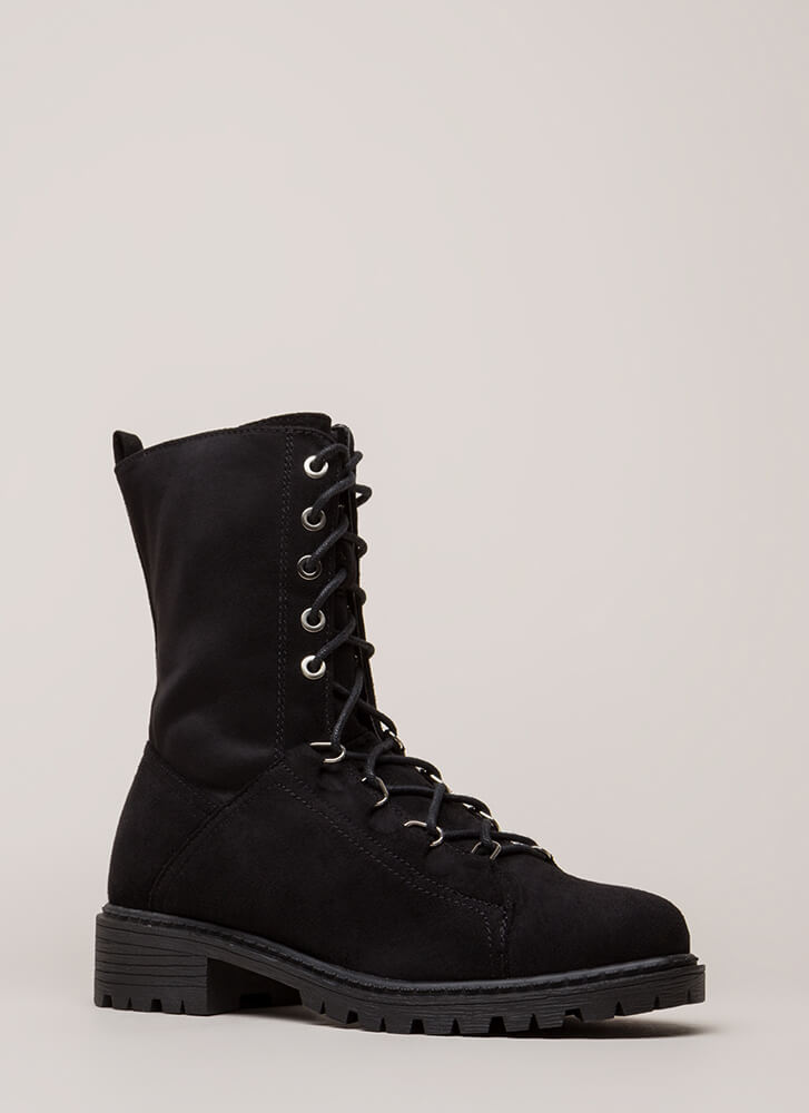 Fight For It Lug Sole Combat Boots BLACK
