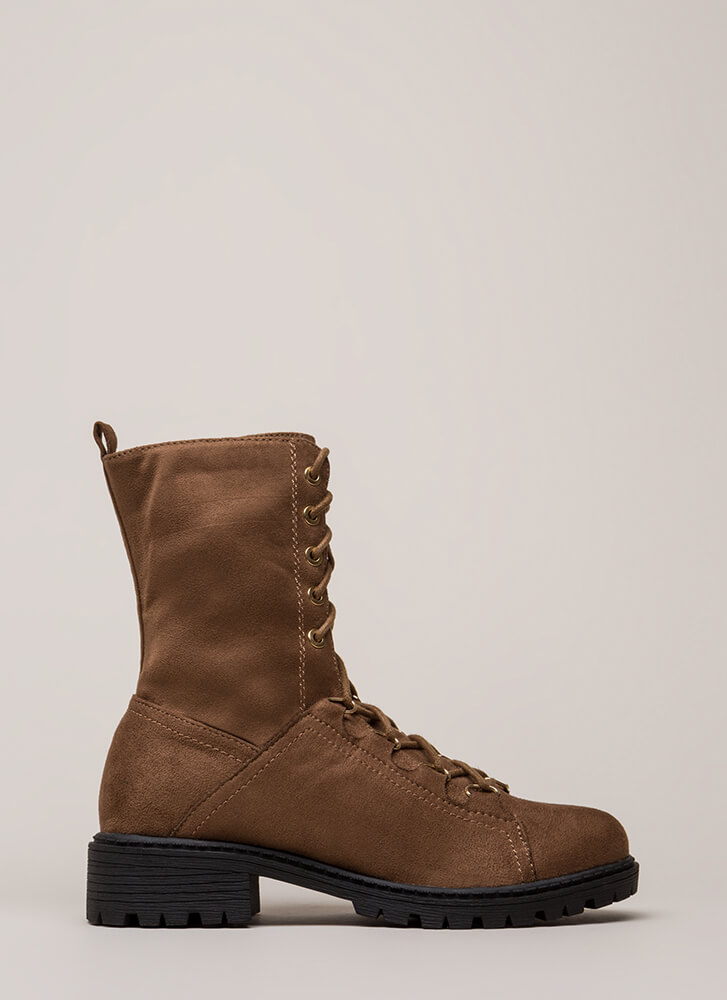 Fight For It Lug Sole Combat Boots BROWN