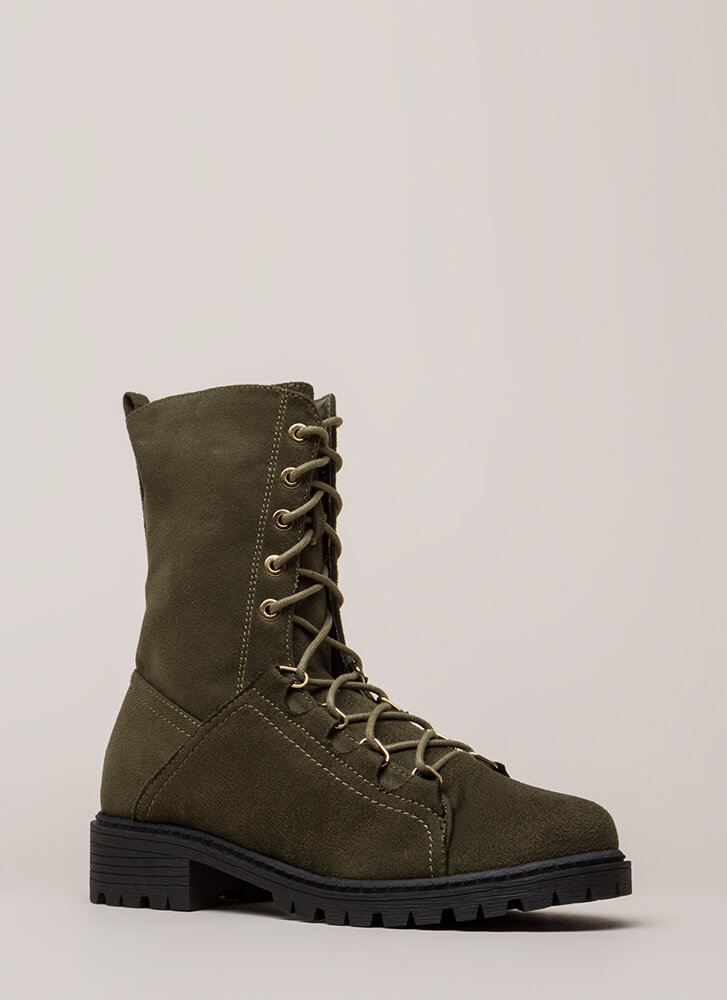 Fight For It Lug Sole Combat Boots OLIVE