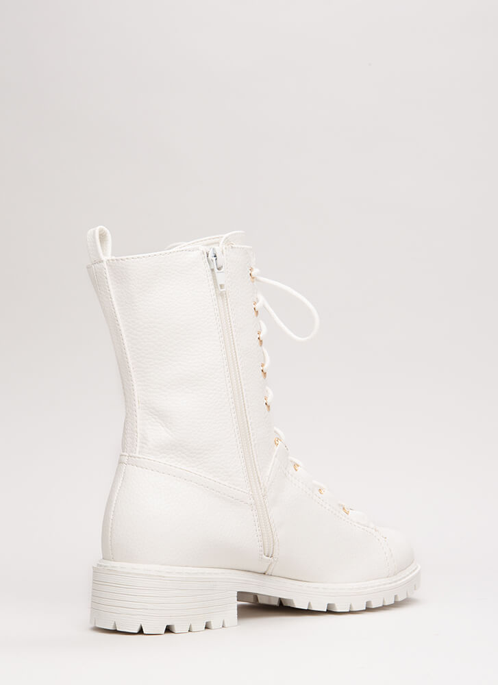 Fight For It Lug Sole Combat Boots WHITE