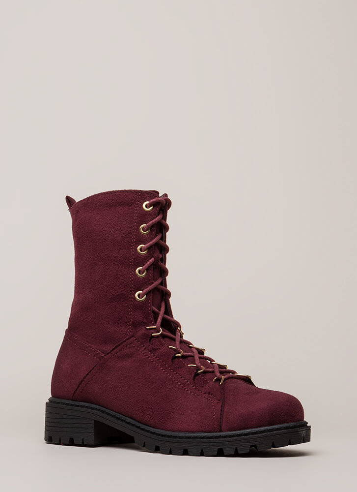 Fight For It Lug Sole Combat Boots WINE