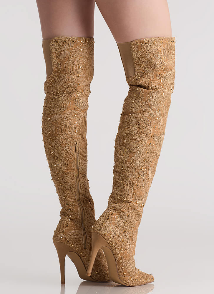 Floral Fatale Studded Thigh-High Boots NUDE