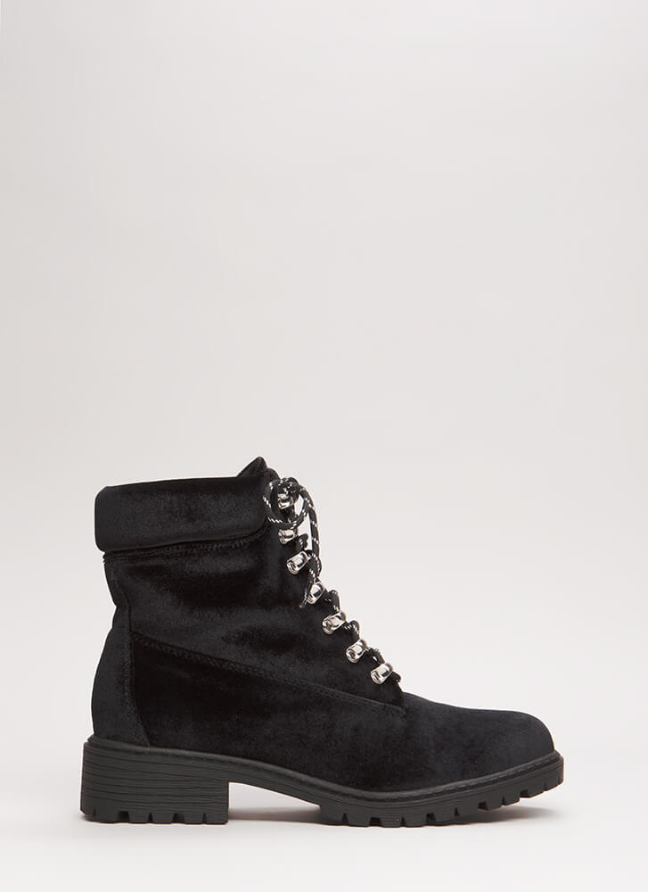 Fight Club Velvet Lug Sole Combat Boots BLACK (Final Sale)