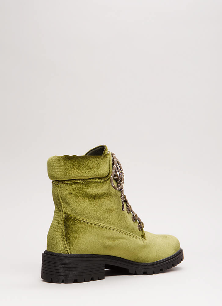 Fight Club Velvet Lug Sole Combat Boots OLIVE (Final Sale)