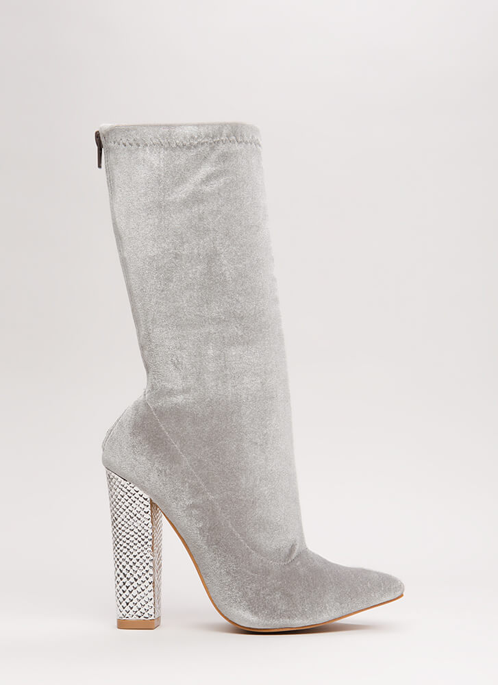Scale Back Chunky Velvet Booties GREY