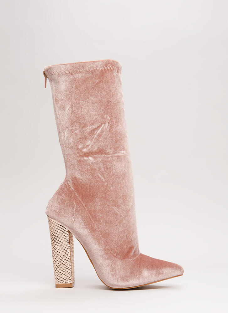 Scale Back Chunky Velvet Booties MAUVE