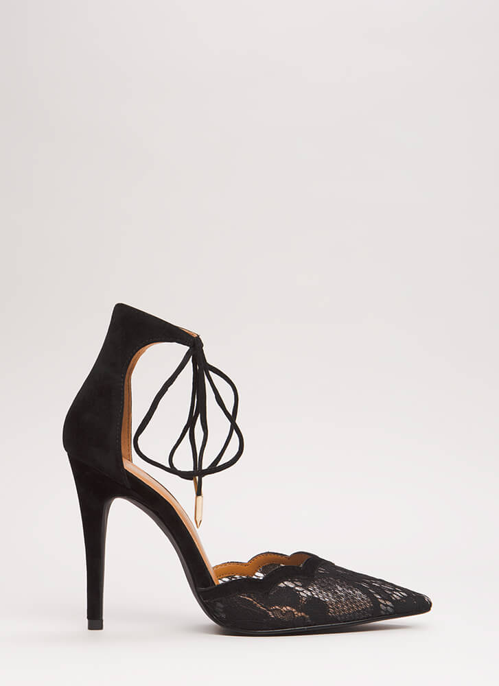 A Little Tied Up Pointy Lace Heels BLACK