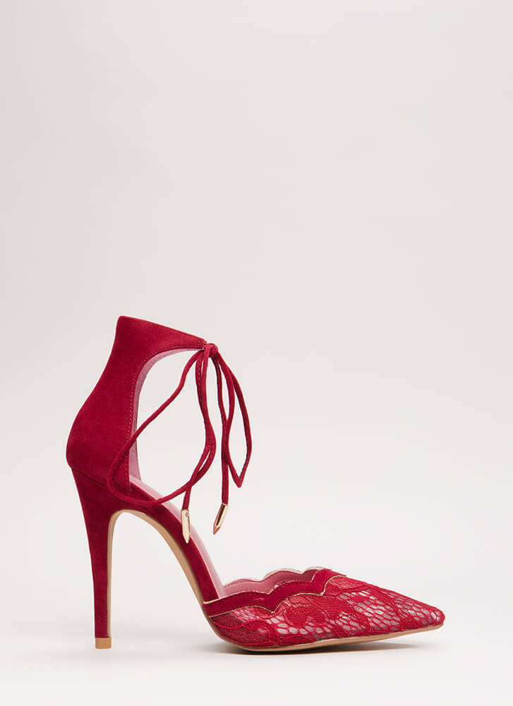 A Little Tied Up Pointy Lace Heels BURGUNDY