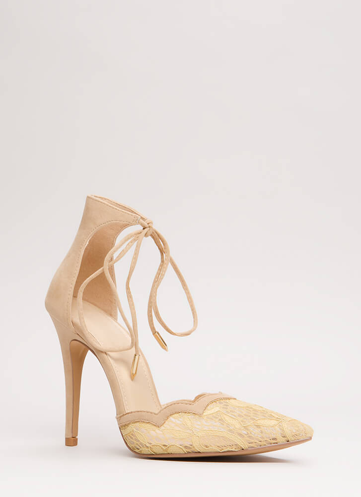 A Little Tied Up Pointy Lace Heels NUDE