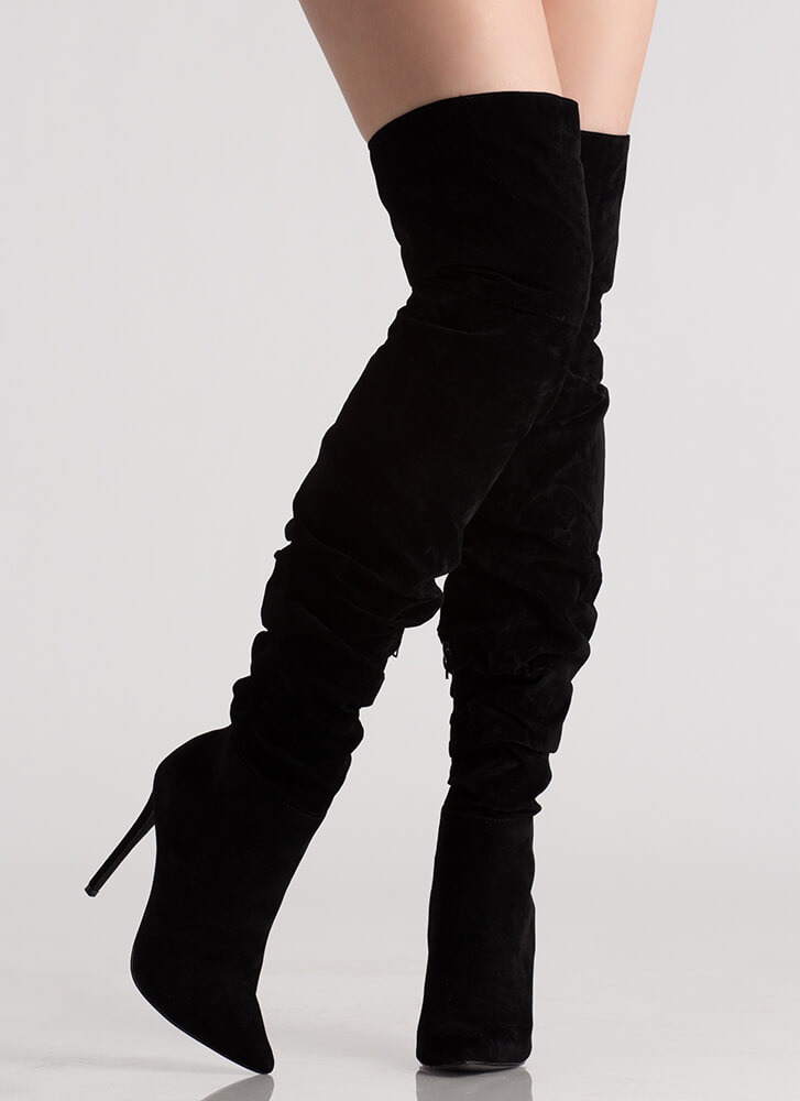 In The Middle Slouchy Thigh-High Boots BLACK