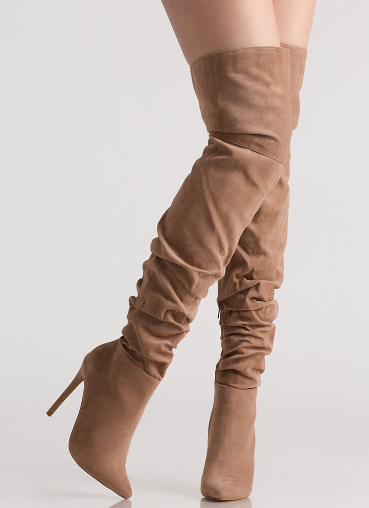 In The Middle Slouchy Thigh-High Boots TAUPE