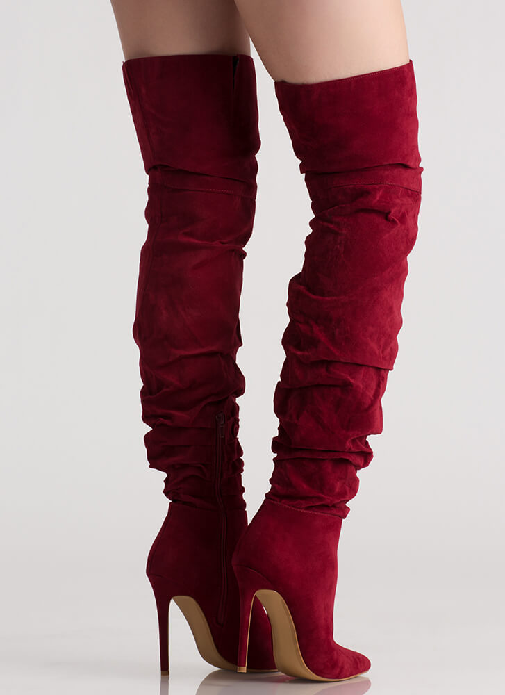 In The Middle Slouchy Thigh-High Boots WINE