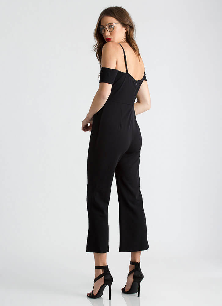 World Traveler Cold-Shoulder Jumpsuit BLACK