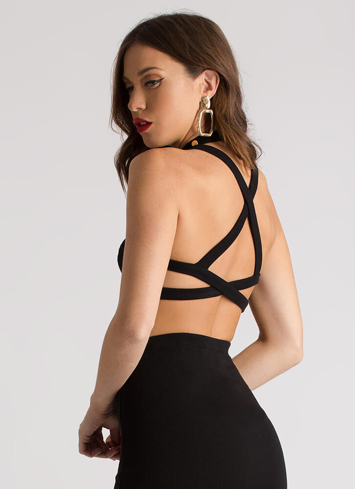 Hey Stud Knit Caged Back Crop Top BLACK (Final Sale)