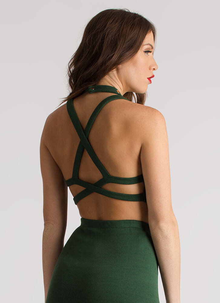Hey Stud Knit Caged Back Crop Top HUNTERGREEN (Final Sale)