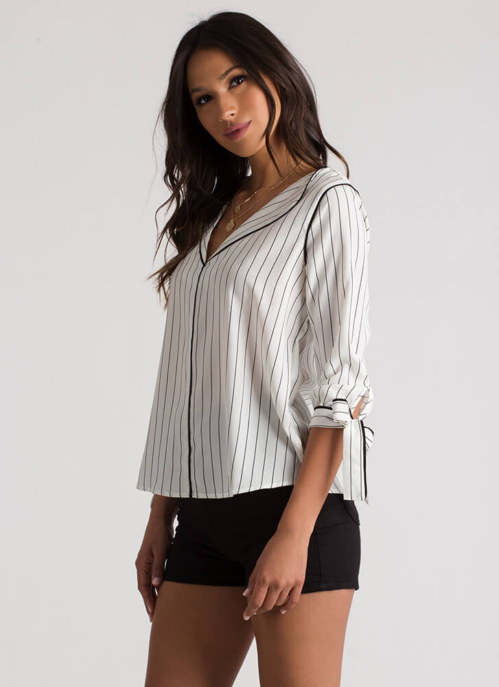 Pinstriped PJ's Tied Sleeve Blouse IVORY