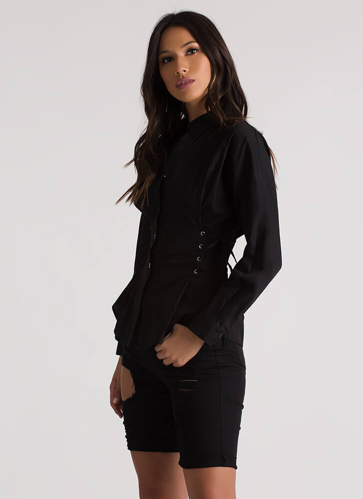 Forever Tied Lace-Up Corset Blouse BLACK