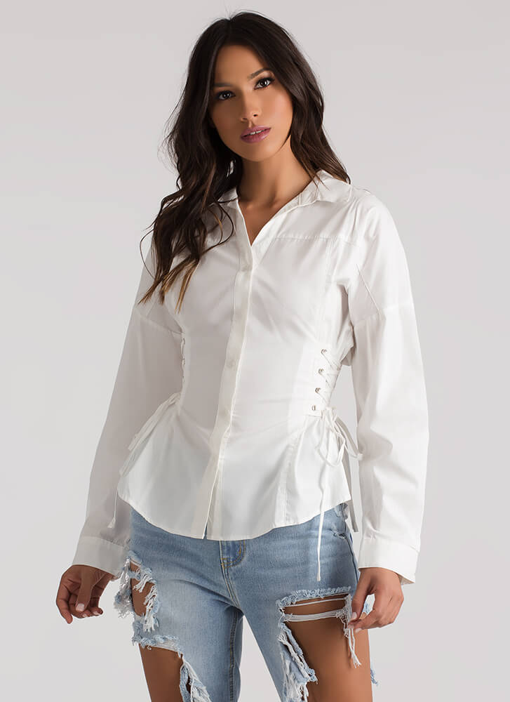Forever Tied Lace-Up Corset Blouse WHITE