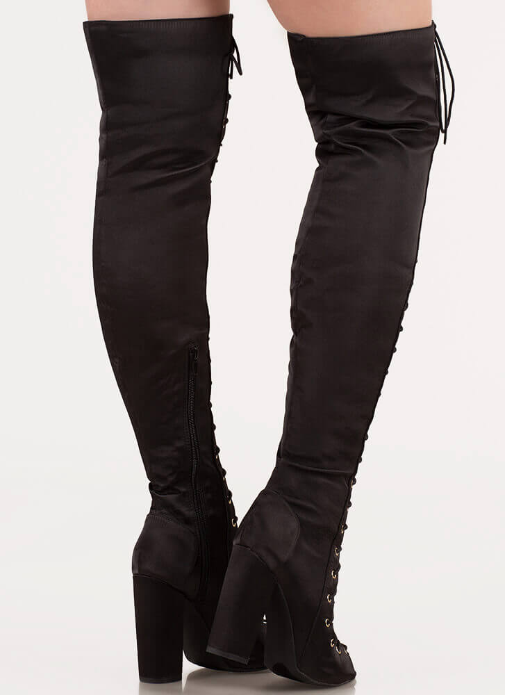 Special In Satin Lace-Up Thigh-High Boots BLACK