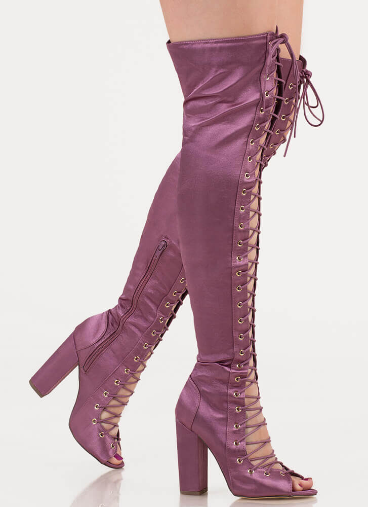 Special In Satin Lace-Up Thigh-High Boots DKMAUVE