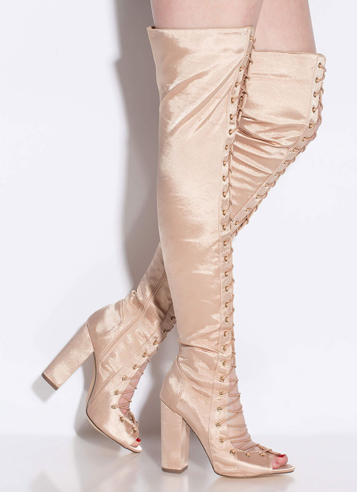 Special In Satin Lace-Up Thigh-High Boots NUDE