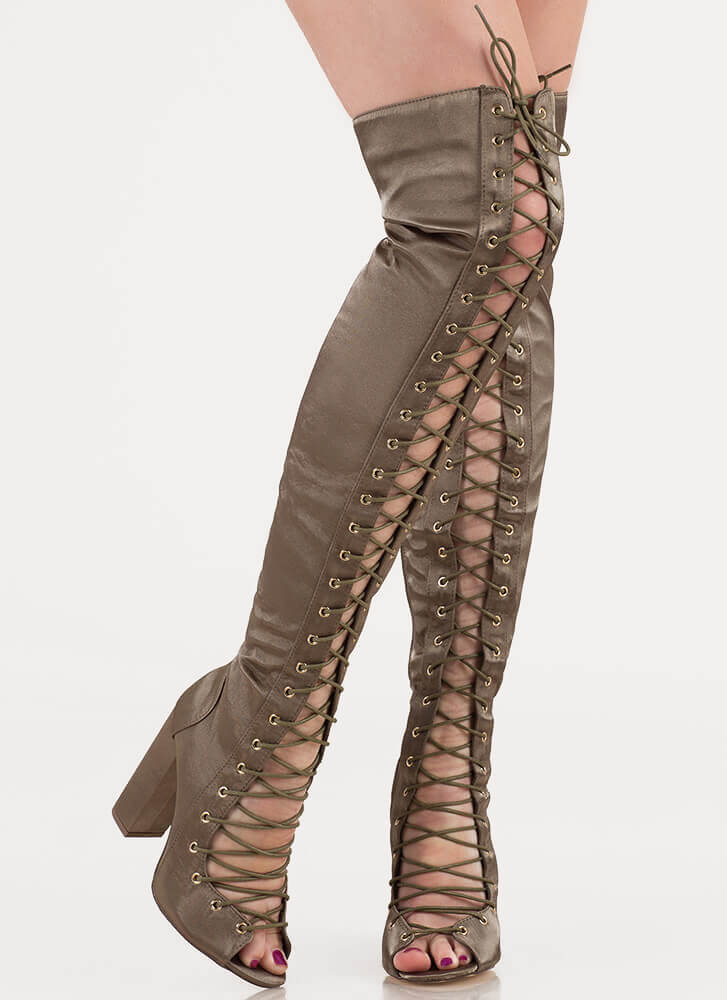 Special In Satin Lace-Up Thigh-High Boots OLIVE
