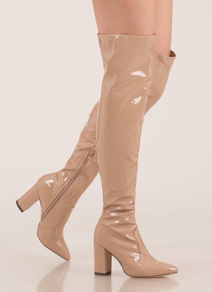 Slick Burn Faux Patent Thigh-High Boots NUDE