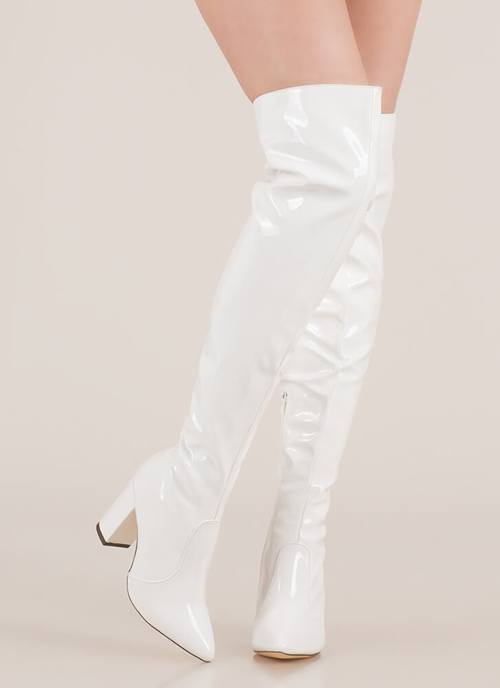 Slick Burn Faux Patent Thigh-High Boots WHITE