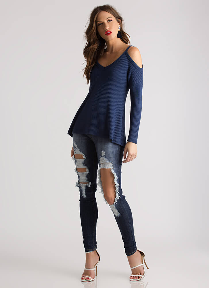 Casual Flare Textured Cold-Shoulder Top BLUE
