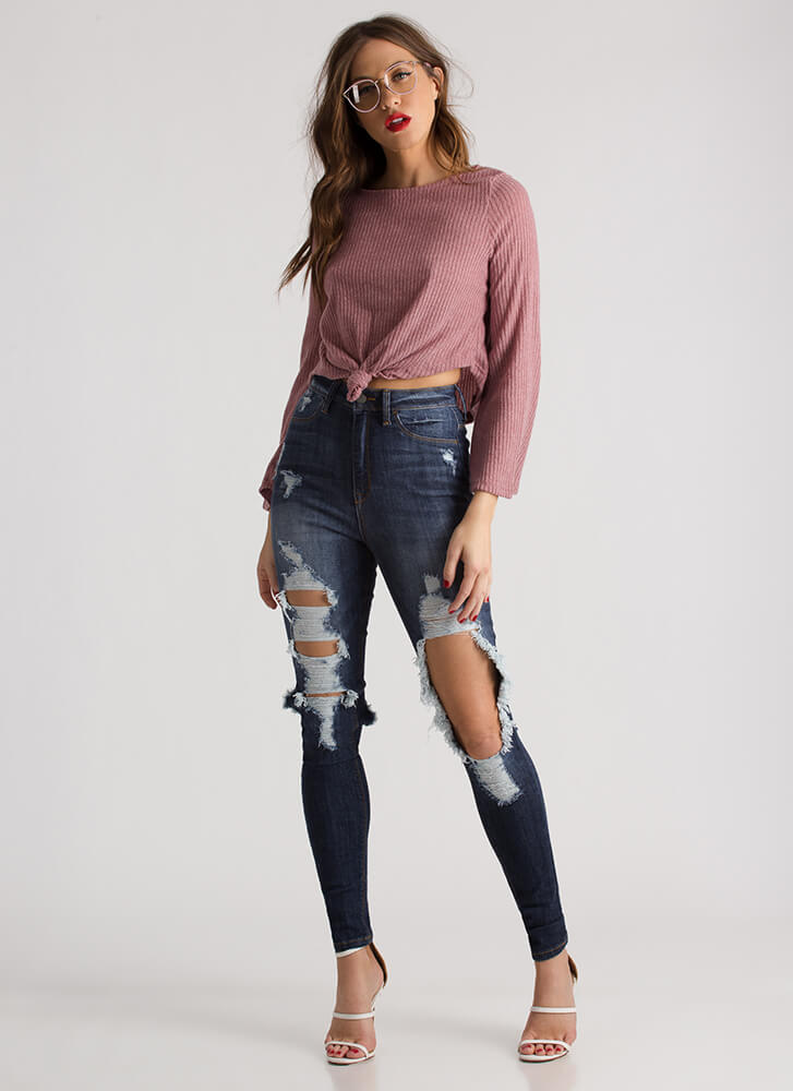 Can You Knot Rib Knit Crop Top BLUSH