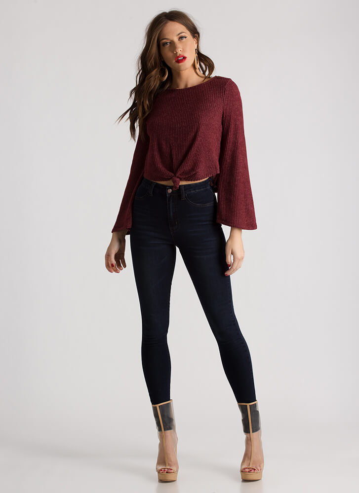 Can You Knot Rib Knit Crop Top WINE