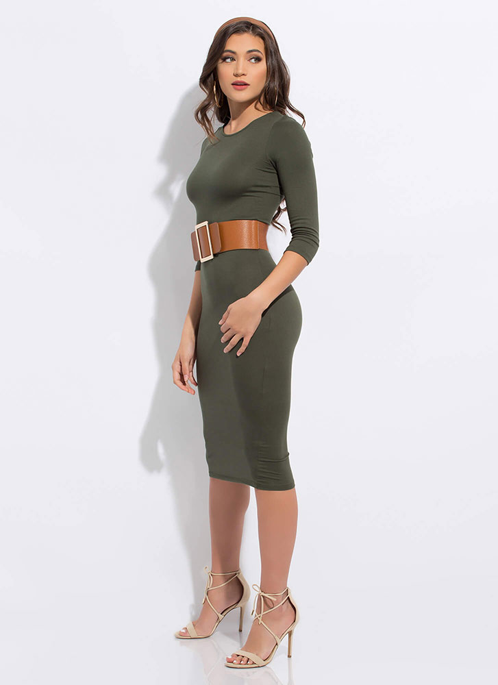 The Simple Things In Life Midi Dress OLIVE