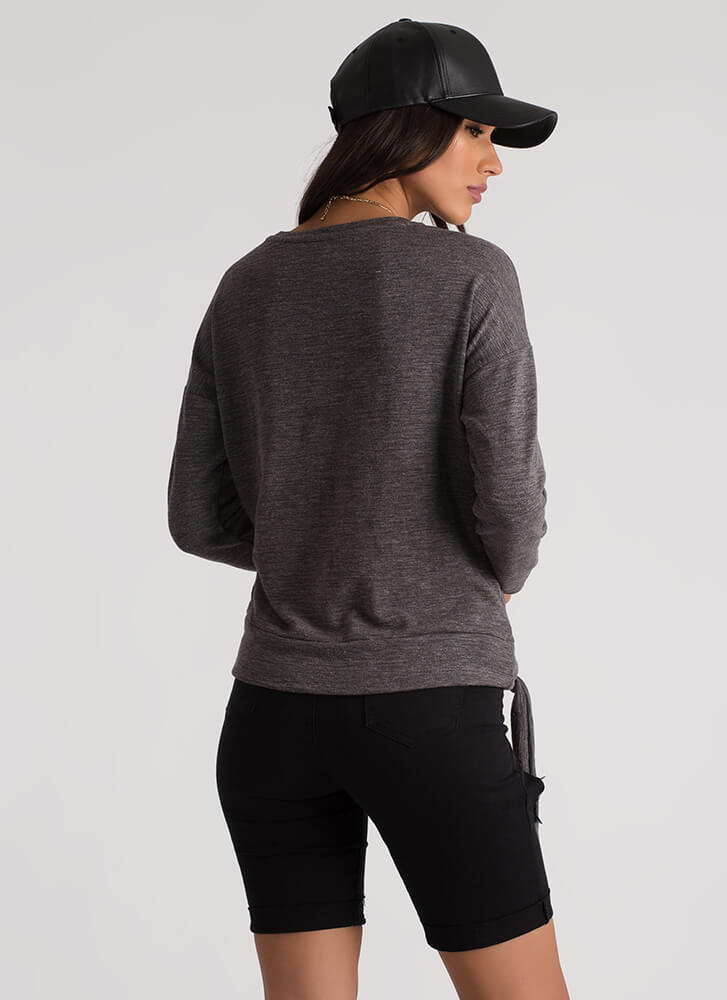 Join The Band Side-Tie Sweatshirt CHARCOAL