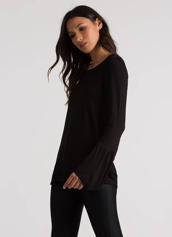 A Certain Flare Bell Sleeve Top BLACK