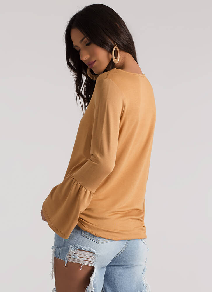 A Certain Flare Bell Sleeve Top CAMEL
