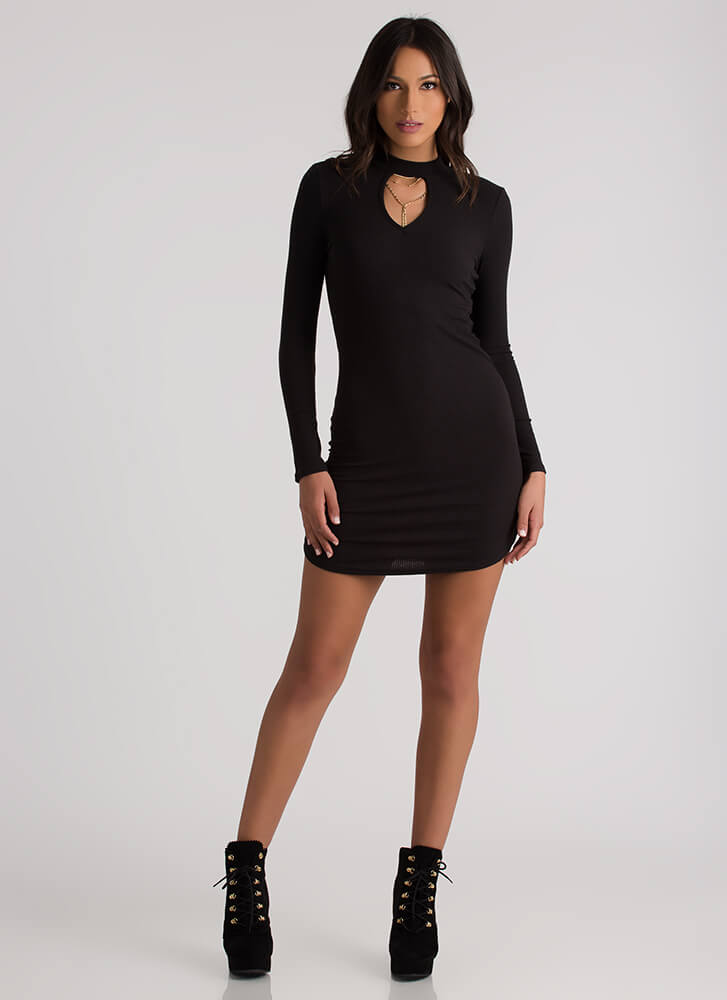 Keyhole To Success Round Hem Dress BLACK