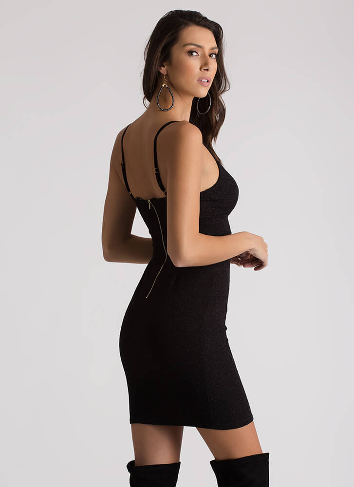 Glam In Glitter Strappy Textured Dress BLACK