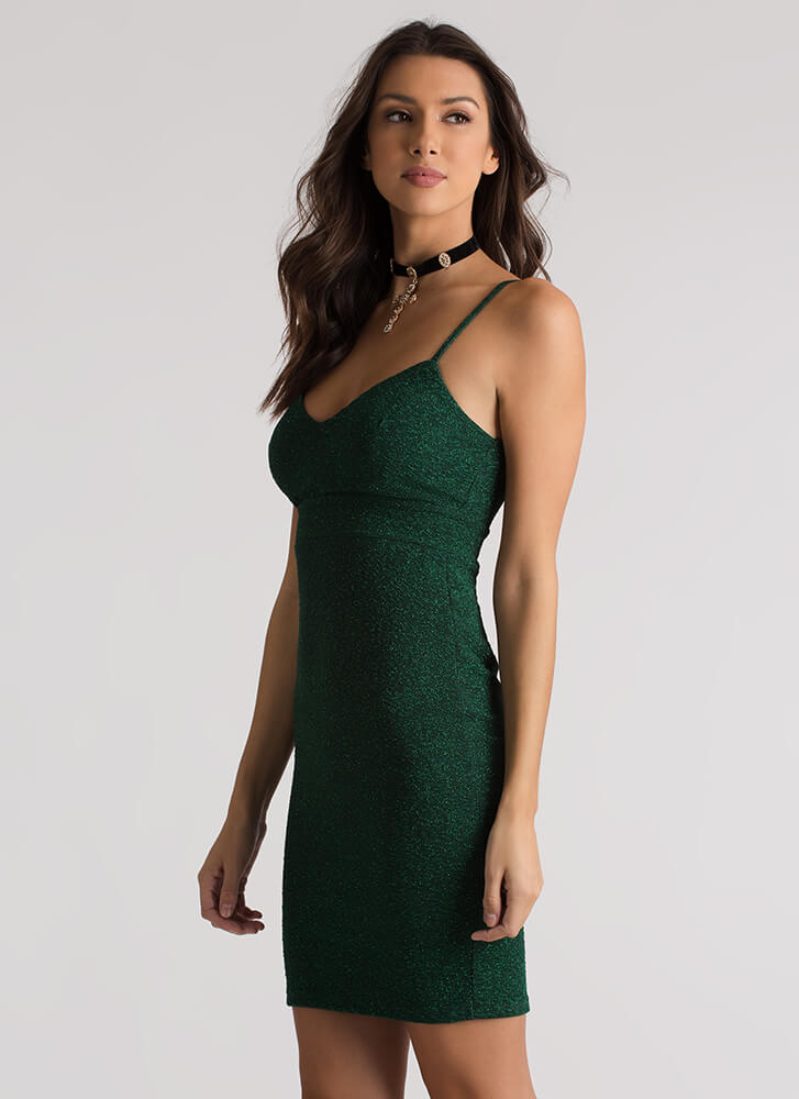 Glam In Glitter Strappy Textured Dress GREEN