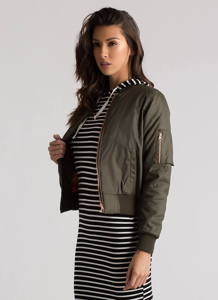 Ready To Take Flight Bomber Jacket OLIVE