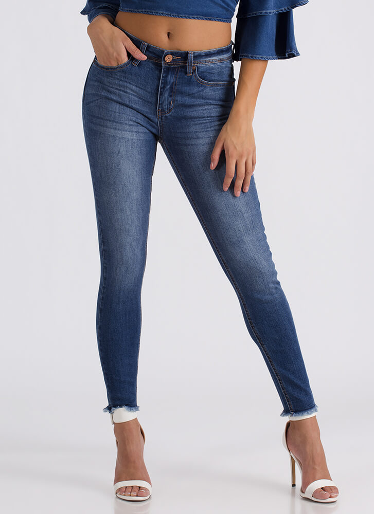 Washing Over Me Cut-Off Skinny Jeans BLUE