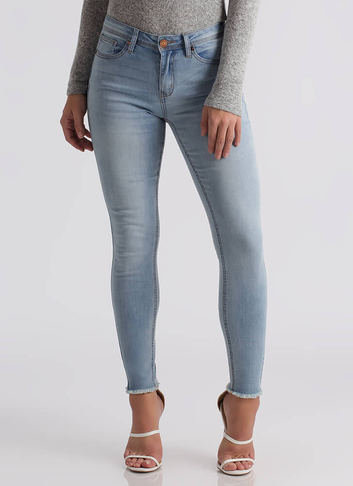 Washing Over Me Cut-Off Skinny Jeans LTBLUE