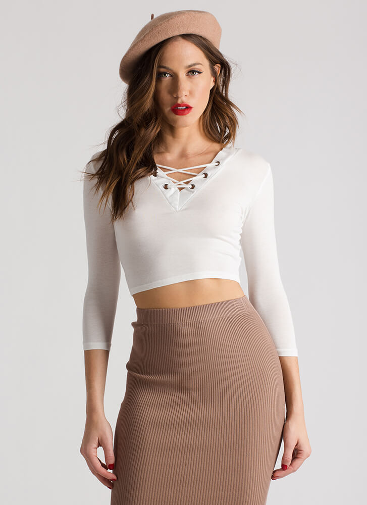 Laced With Cool V-Neck Crop Top WHITE