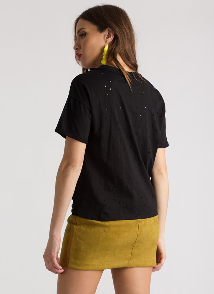 Staying Strappy Cut-Out Distressed Tee BLACK