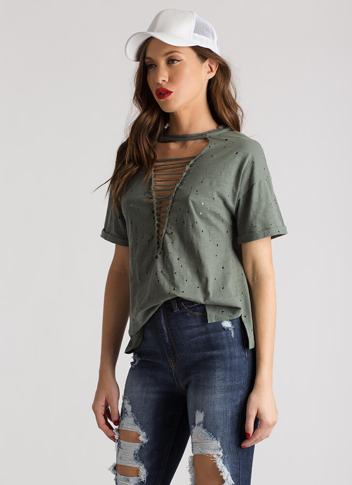 Staying Strappy Cut-Out Distressed Tee OLIVE
