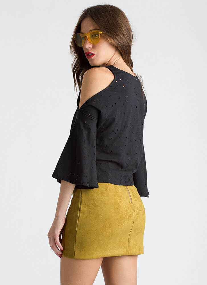 Hole Thing Knotted Cold-Shoulder Top BLACK