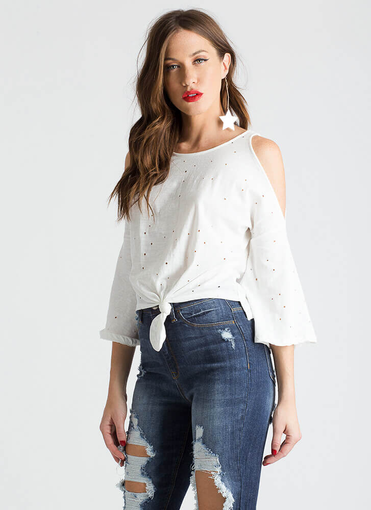 Hole Thing Knotted Cold-Shoulder Top WHITE
