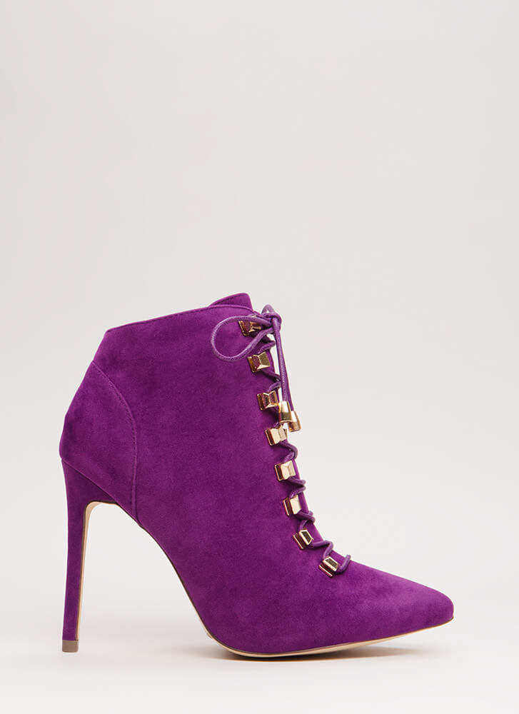 Squared Away Pointy Lace-Up Booties PURPLE