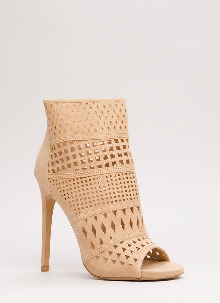 Cut-Out For This Peep-Toe Booties NUDE