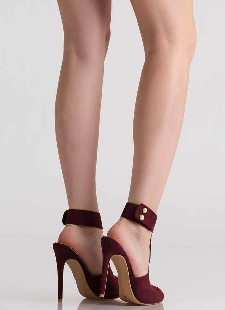 Pearly Greats Cut-Out Peep-Toe Heels WINE